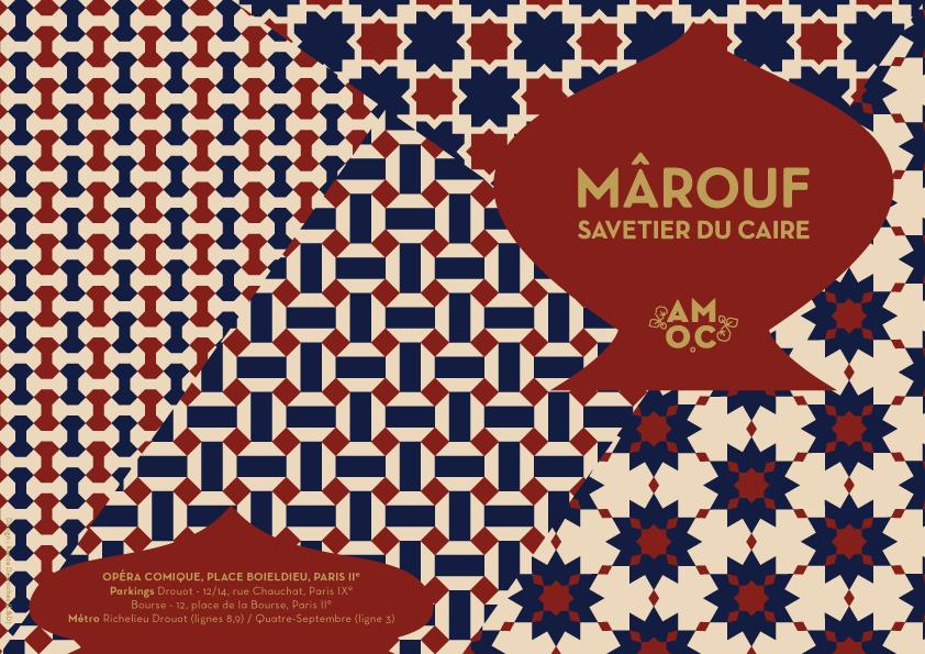 Carton d'invitation Mârouf, savetier du Caire de Henri Rabaud pour l'Opéra Comique à Paris (création : Kanta Desroches)