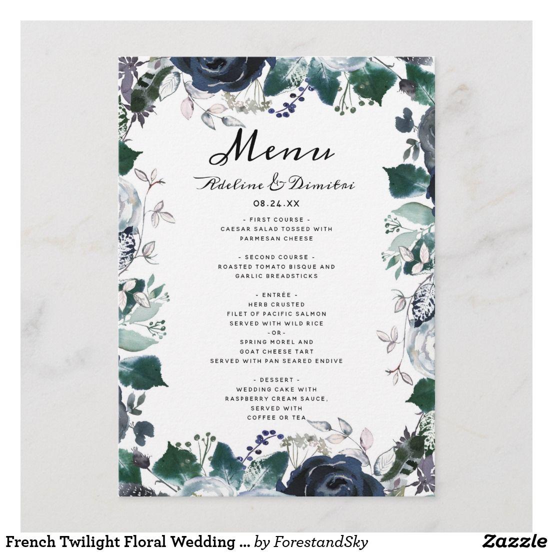 French Twilight Floral Wedding Reception Dinner Menu | Wedding ...