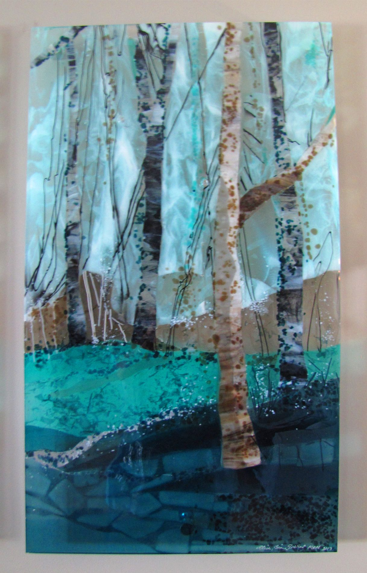 Trio Of Trees Fused Glass