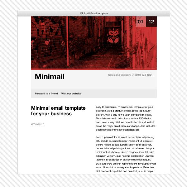 Minimail HTML Email Template Template And Psd Templates - Minimal email template