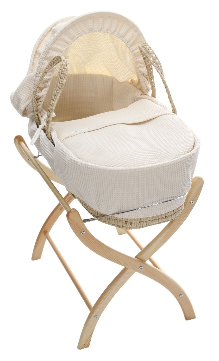 Baby Weavers Cream Waffle Maize Moses Basket from Kiddicare