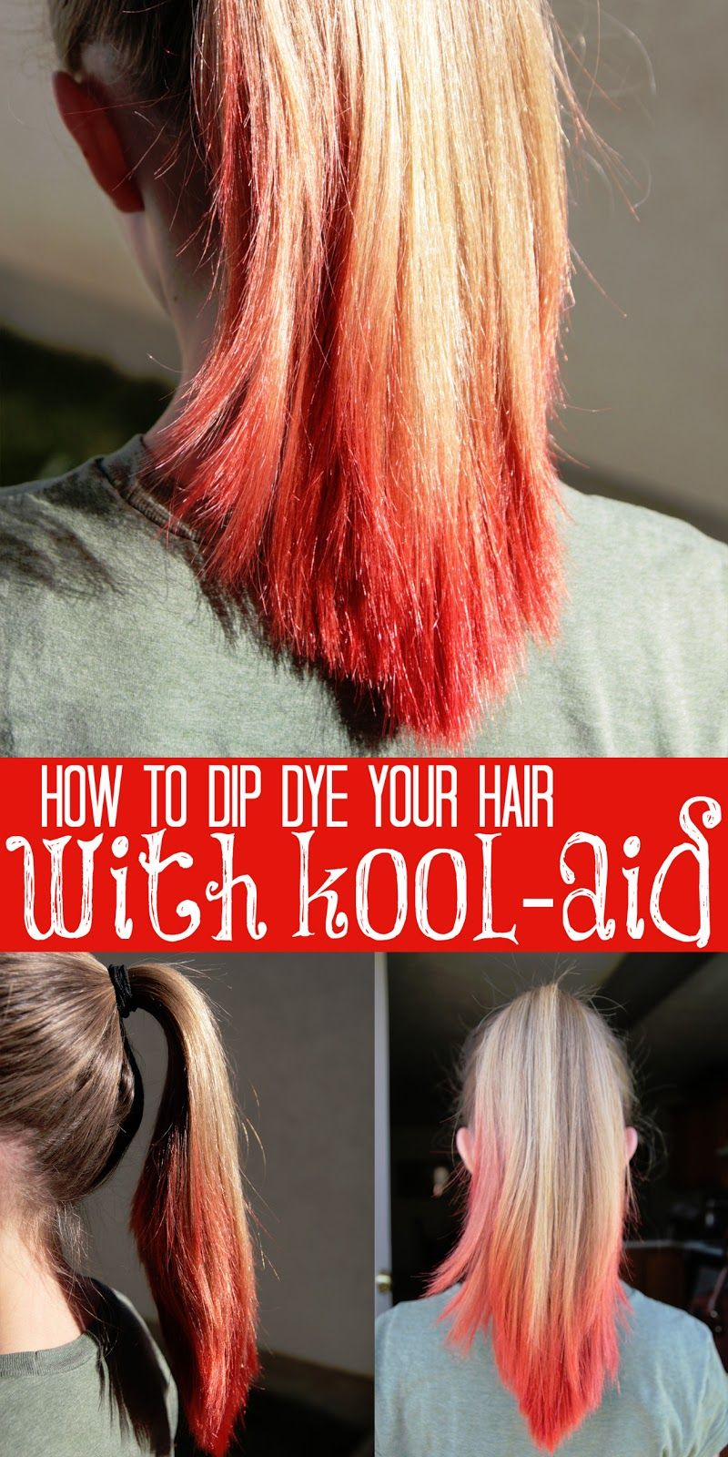 How To Dip Dye Your Hair With Kool Aid Tips From A Typical Mom Kool Aid Hair Dye Kool Aid Hair Dip Dye Hair