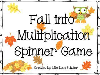 Fall Multiplication Spinners Math Station Activity   Pinterest