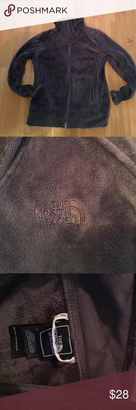 NORTH FACE velour zip up jacket North face jacket in excellent condition. Zipper front closure, funnel neck. Super soft!! Two front side pockets. Size women's large. It's 100% polyester. No flaws, to big for me North Face Jackets & Coats