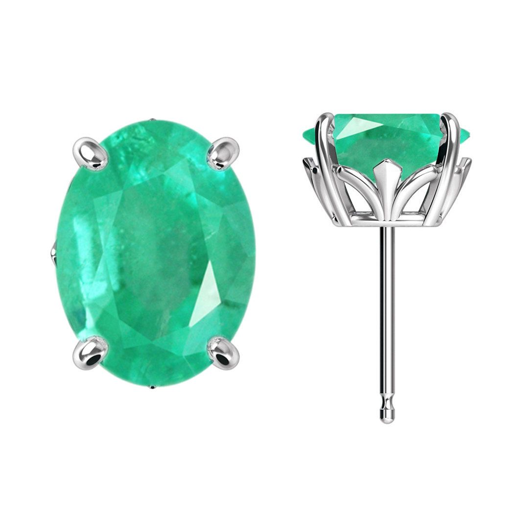 d55ea7104 2.10 Cts Emerald Oval Four Prong Floral Stud Earrings 14K | Jewelry ...