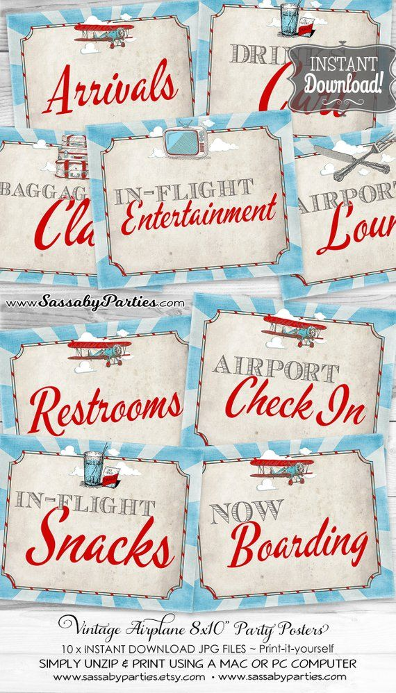 Vintage Airplane Posters Signs INSTANT DOWNLOAD 10x