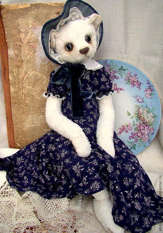 """Купить Кошка""""Лиза"""" - тёмно-синий, кошка, белая кошка, белый, тедди, друзья тедди"""