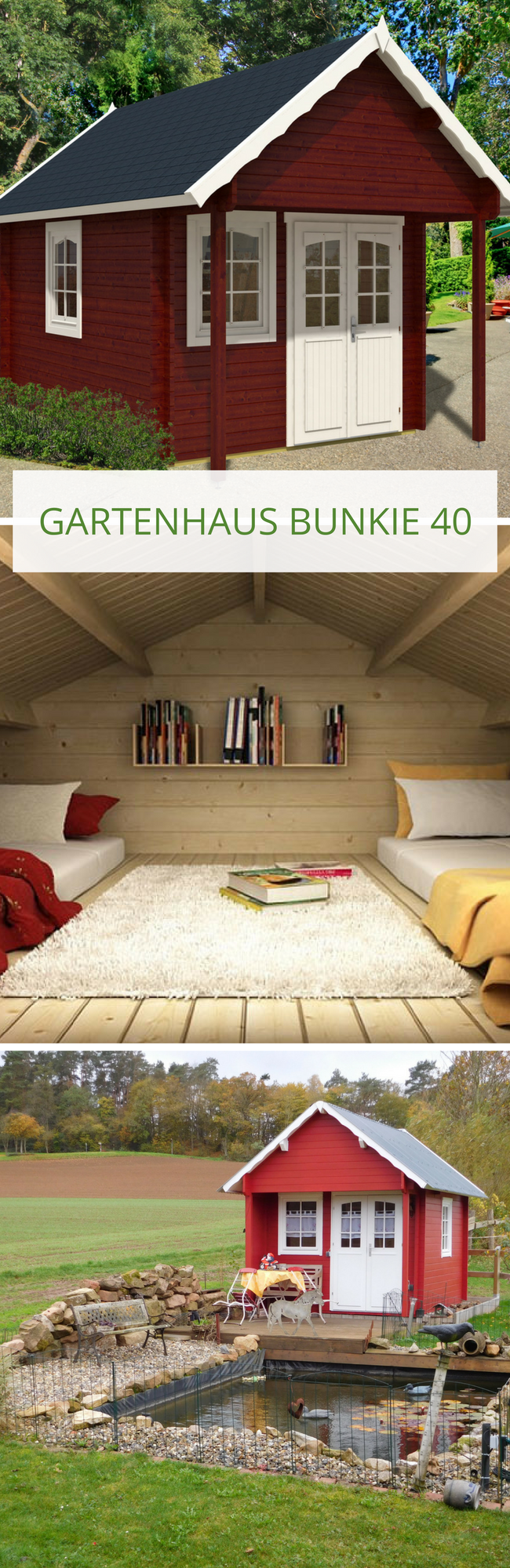 garten und freizeithaus bunkie 40 gartenhaus als g stehaus pinterest gartenhaus garten. Black Bedroom Furniture Sets. Home Design Ideas