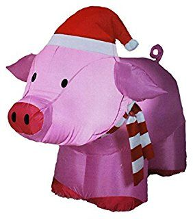 christmas decoration inflatable outdoor pig airblown holiday yard decor new
