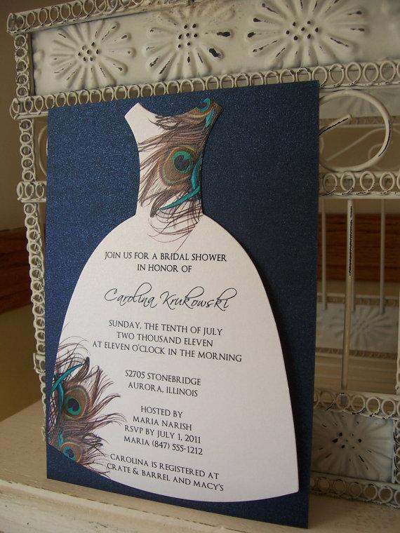 Peacock Bridal Shower Invitation Custom Die Cut Dress In 2019