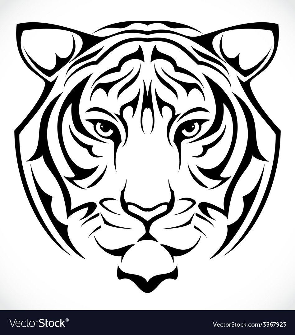 Tiger Head Vector Image On Vectorstock Tiger Silhouette Tiger Outline Tribal Tiger