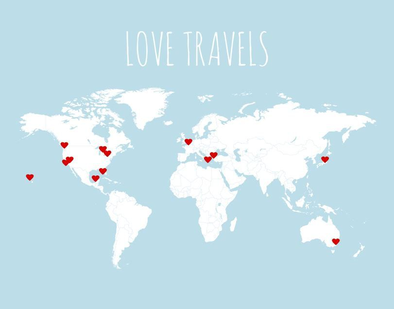 Travel map blank love travels world map by paperplaneprints 3900 love travels world map kit includes blank map poster in grey or light blue and 50 mini red heart stickers custom title and colors available gumiabroncs Choice Image
