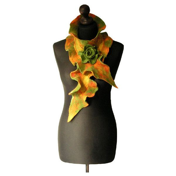 Nuno felted collar felt scarf shawl handmade art to wear collar yellow... (€57) ❤ liked on Polyvore featuring accessories, scarves, boho scarves, shawl scarves, bohemian scarves, green shawl and green scarves