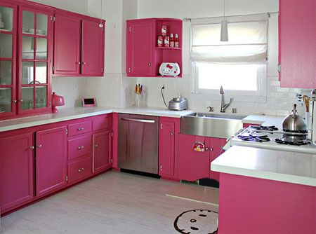 All Pink Kitchen hot pink kitchen makeover - brighten up your #home #live in it