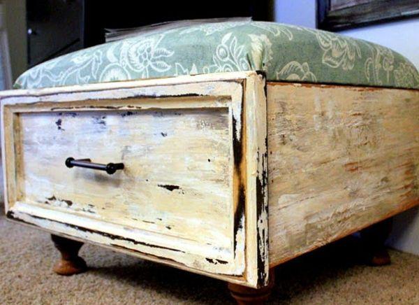 Aus einer alten #Schublade wird ein gepolsterter #Hocker #Wohnidee