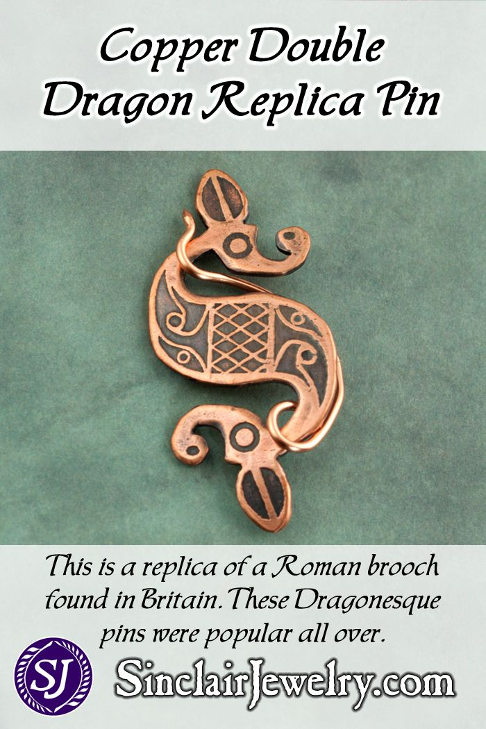 Antiqued Copper Double Dragon Pins Sinclair Jewelry Antique Copper Double Dragon Historical Jewellery