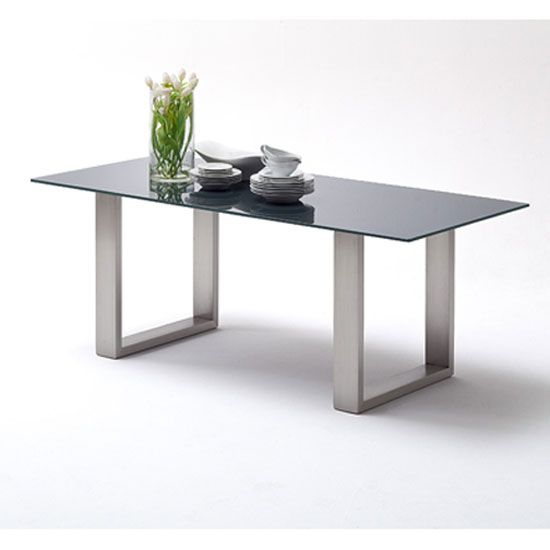 Sayona Glass Dining Table In Grey With Stainless Steel Legs
