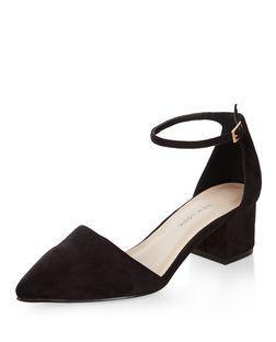 14138c17ab2 Wide Fit Black Suedette Pointed Ankle Strap Block Heels