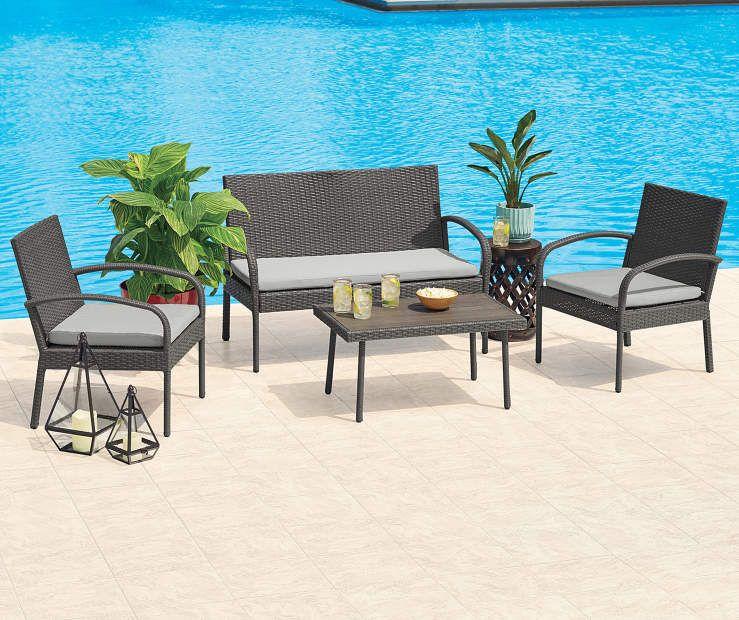 I found a Gray 4-Piece All Weather Wicker Cushion Seating Set at Big