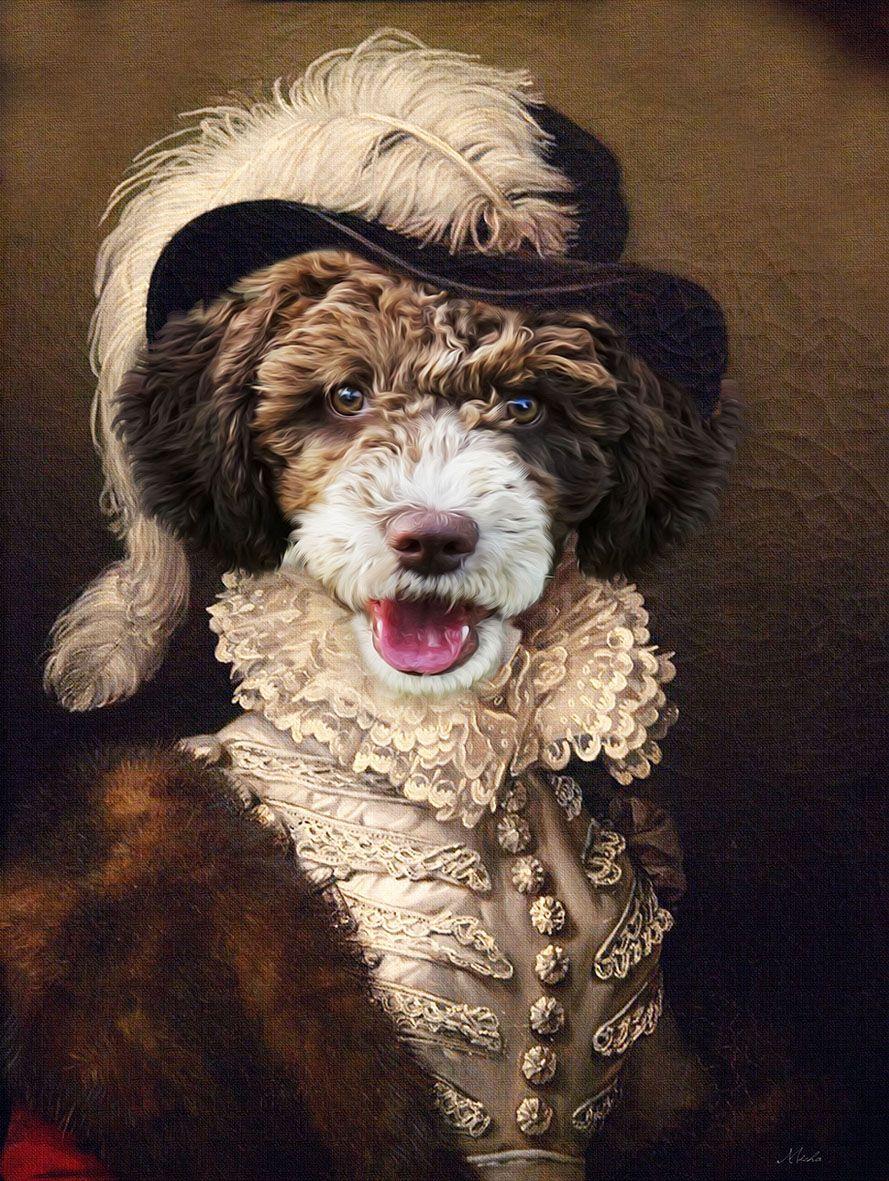 Custom Pet portrait,Romantic pet portrait,Regal pet
