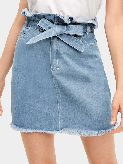 367b6df0bb Waist Tie Raw Hem Ruffle Denim Skirt in 2019 | Demin Is Cool|Jeans ...