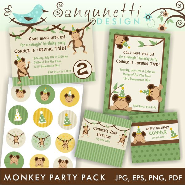 Monkey Party Invitation Graphics Pack 625 – Packs of Party Invitations