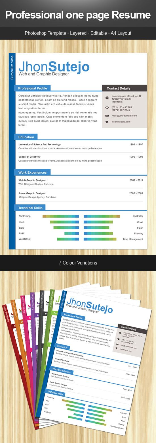 professional one page curriculum template in different color professional one page curriculum template in different color variations