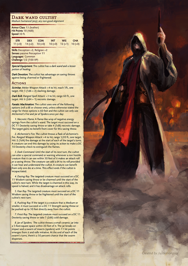 Reddit - UnearthedArcana - [Monster], CR 1/2 Cultist that