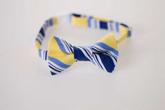 If I had a son... I do have a nephew... Childs Bowtie  Navy and Yellow Stripes  Sizes by littlegentleman, $18.00