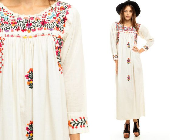 Vintage 70s Hippie Prairie Girl Wedding Dress Gown S M: Oaxacan Embroidered Dress 70s MEXICAN Maxi Hippie White