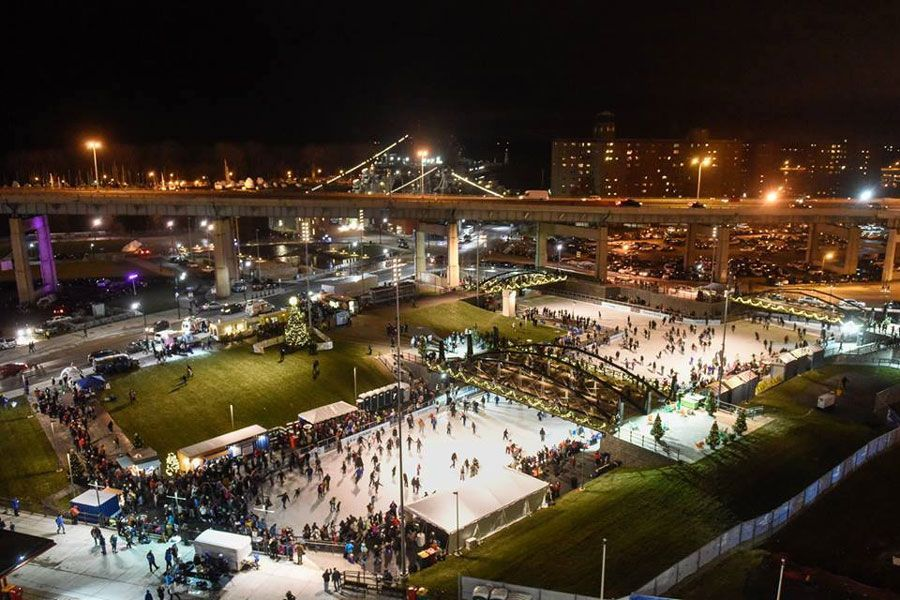Ice Rink at Canalside, the largest outdoor ice rink in New York State - was just there today and boy was it cold outside! Perfect for skating!