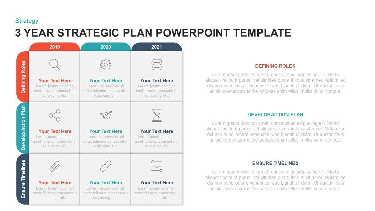 3 Year Strategic Plan Template For Powerpoint Keynote Strategic Planning Template Business Plan Template Free Strategic Planning