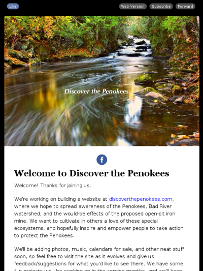 Welcome to Discover the Penokees newsletter