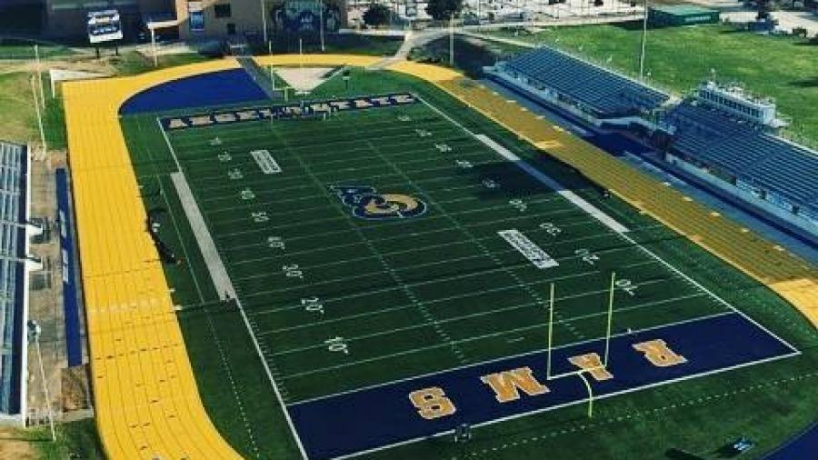 angelo state university legrand football stadium new gold blue