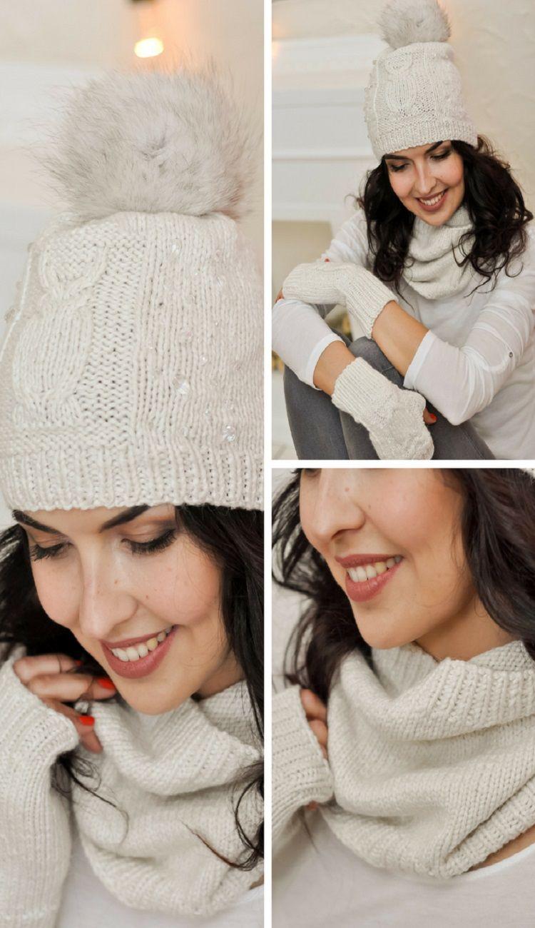 Free shipping White hat Slouchy hat Women pom pom hat Winter beanie ...