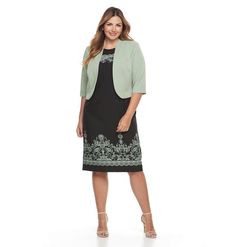 ec6389623f0a4 Plus Size Maya Brooke Floral Scroll Dress   Jacket Set in 2019 ...