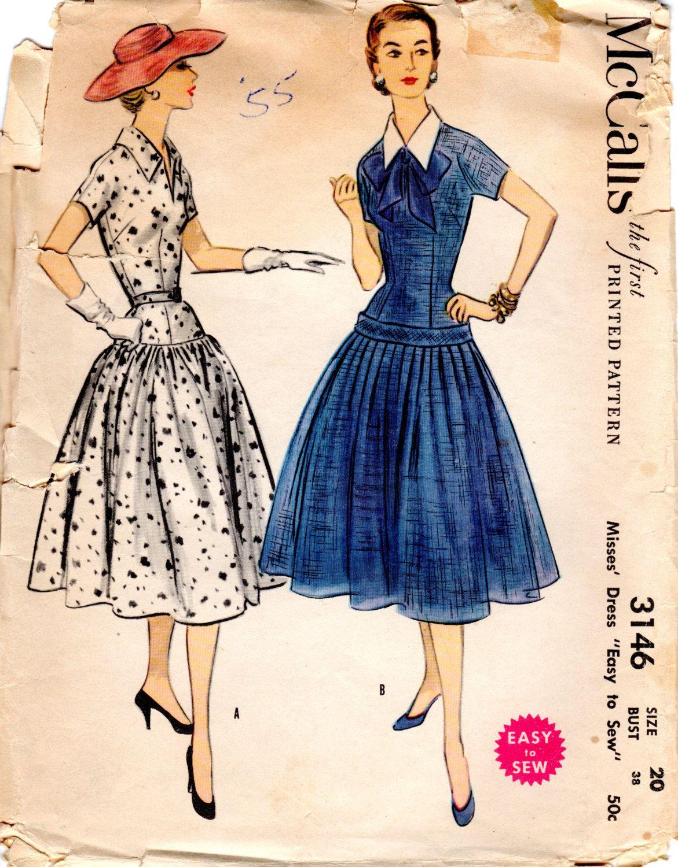 abe7cbe3b0 1950s Drop Waist Dress - Vintage Pattern McCall s 3146 - Bust 38 UNCUT FF  by ErikawithaK on Etsy