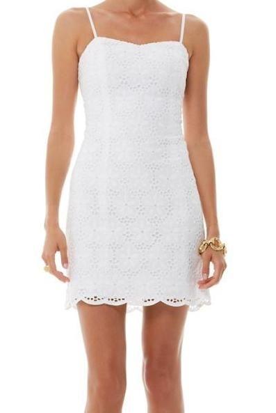 e26c74eb788c96 Lilly Pulitzer McCallum Fitted Tie Back Dress in Resort White Charleston  Eyelet
