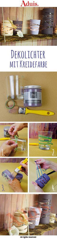 dekolichter mit kreidefarbe klebe das klebeband so um das glas dass diese nicht zu eng. Black Bedroom Furniture Sets. Home Design Ideas