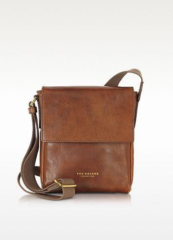 THE BRIDGE Sfoderata Marrone Leather Men'S Crossbody Bag ...
