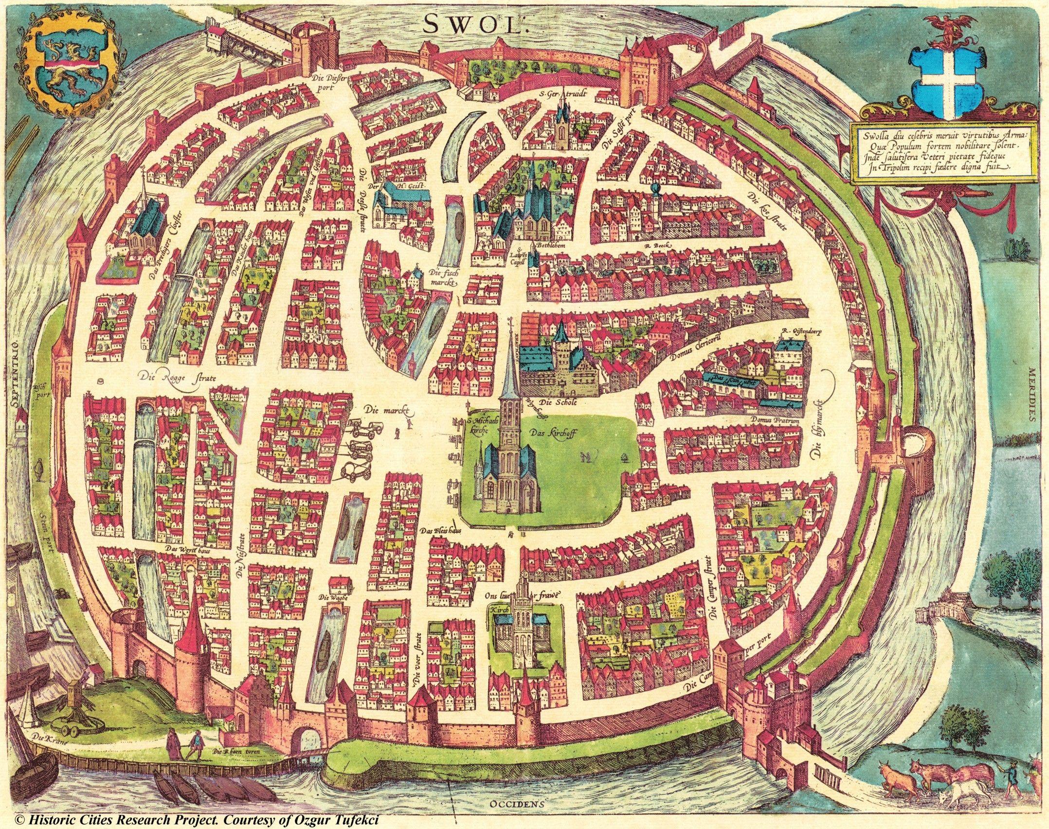 Map of Zwolle The Netherlands 1581 Braun Hogenberg Historisch