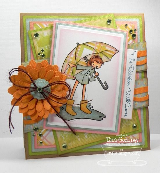 I made this card with the great sketch that we have at MFT for the MFT September Guest DT Contest. I used the sweet MFT, ALM The Rainbow Will Come Stamp set and the Plentiful Petals Die-namics.