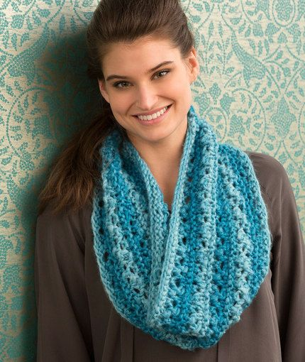 One Ball Lace Cowl Free Knitting Pattern in Red Heart Yarns | New ...