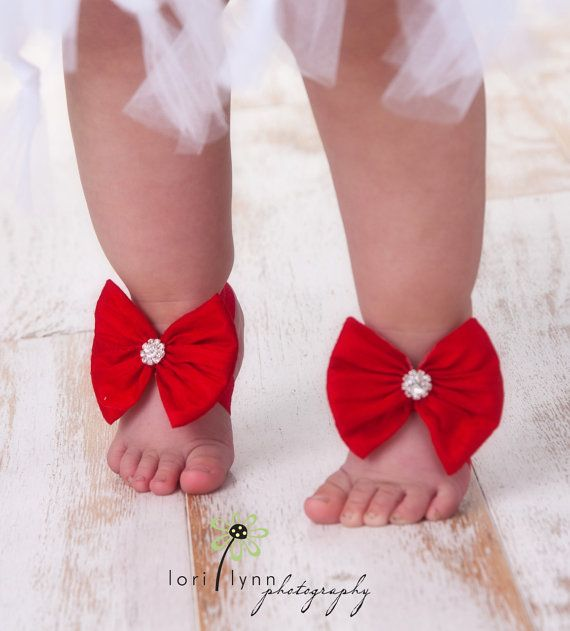Ruby Red Baby Shoes Barefoot Sandals by