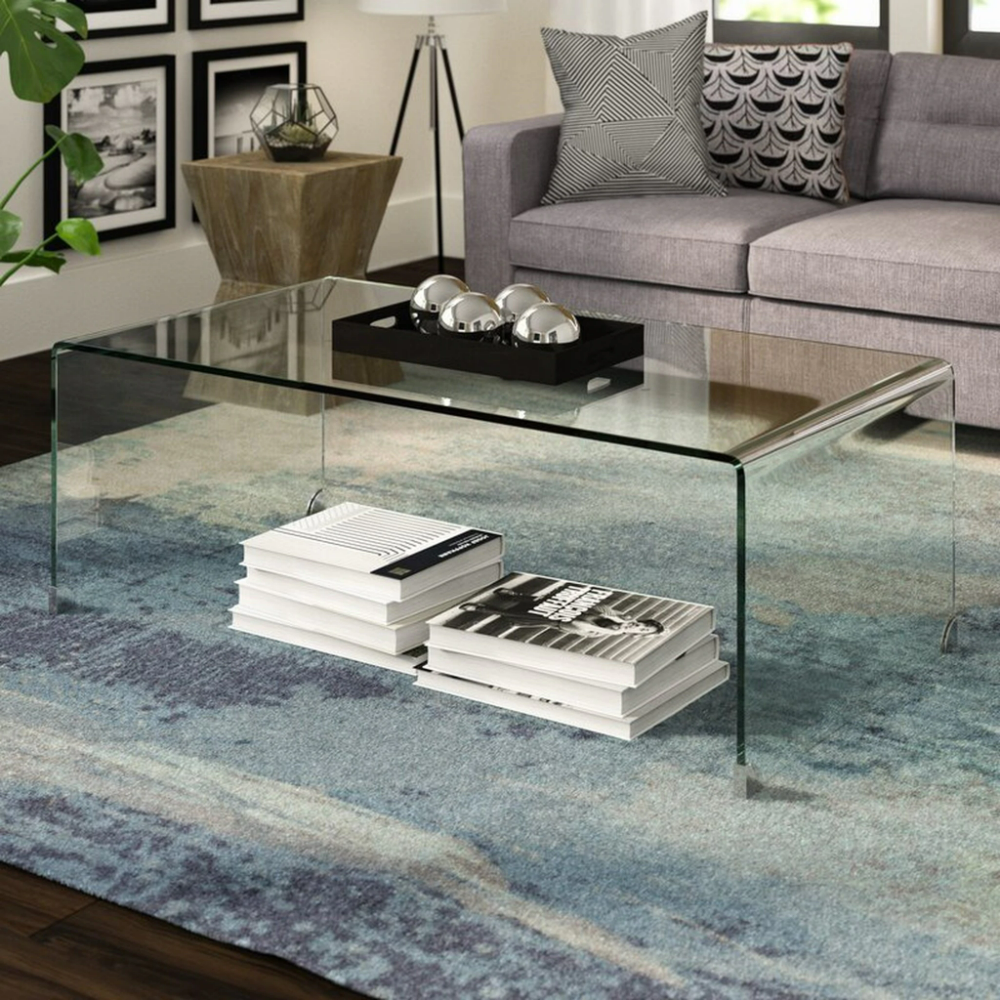 Tempered Glass Waterfall Coffee Table With Chrome Caps In 2021 Coffee Table Glass Coffee Table Decor Table Decor Living Room [ 1000 x 1000 Pixel ]
