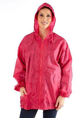 Ladies Hooded Kag in a Bag Rain Coat Cagoule Pocket Jacket Kag Mac Festival