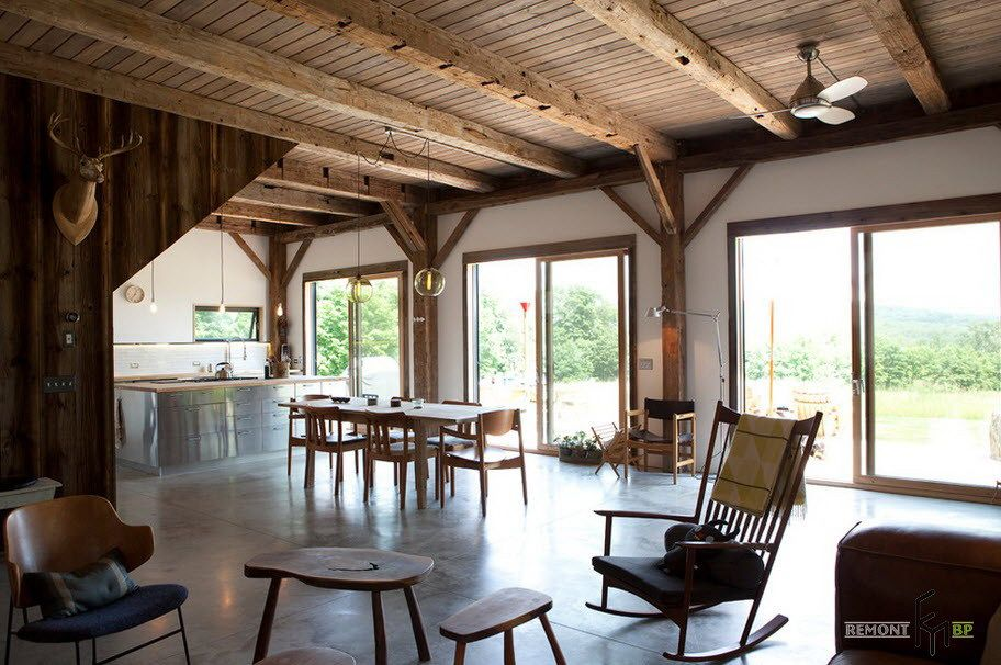 Fabulous Open Dining And Kitchen Area Decorated With Rustic Wooden Beauteous Wooden Ceiling Designs For Living Room 2018