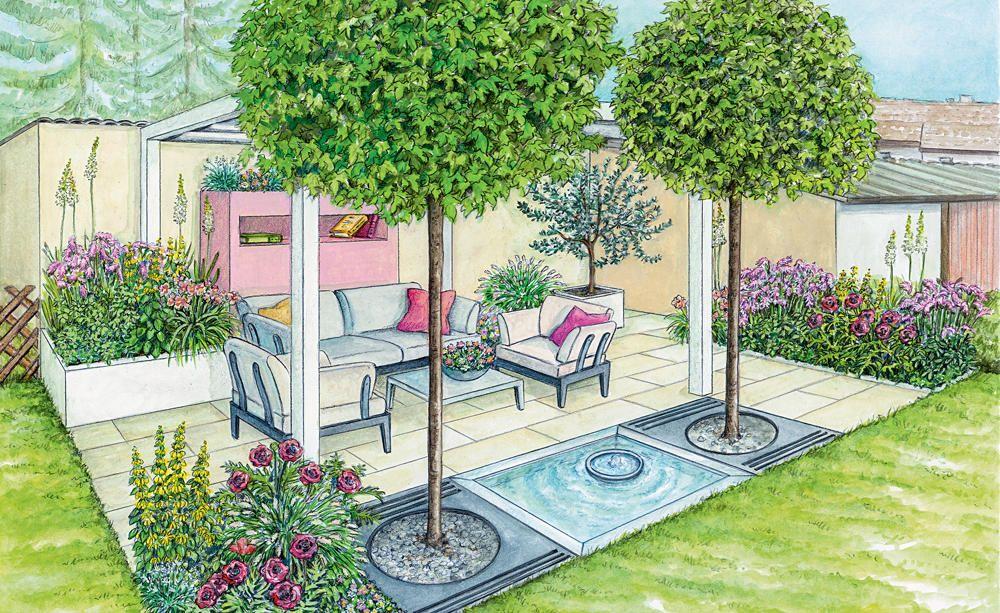 gesch tzte sitzecke vor einer mauer vorher nachher inspirationen f r den garten pinterest. Black Bedroom Furniture Sets. Home Design Ideas