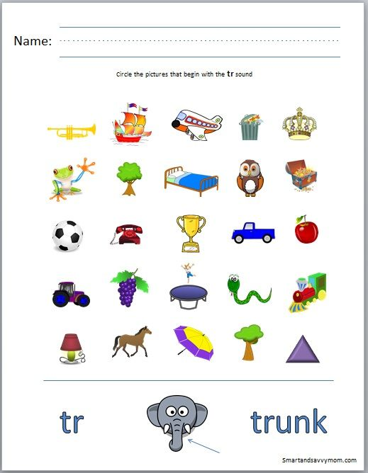 Phonics Worksheets Blends : Tr consonant blend phonics worksheet circle the picture