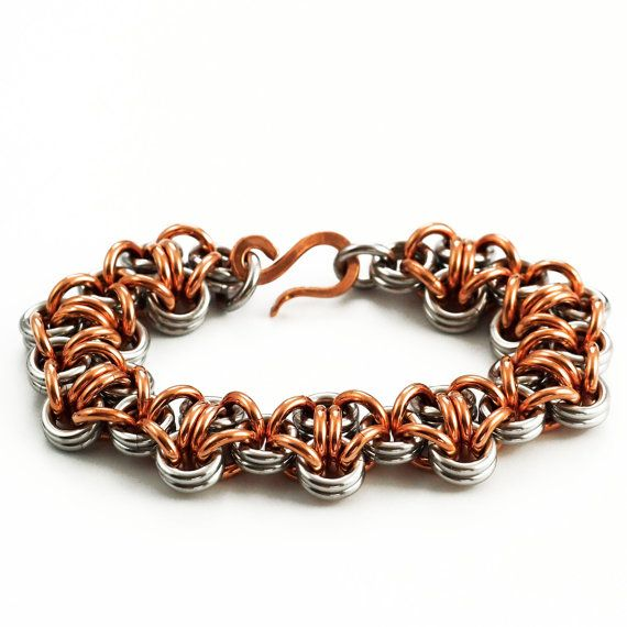 This Stainless Steel And Copper Bracelet Features The Turtleback Chainmaille Weave In Chunky 12 Gauge Chainmaille Bracelet Chainmaille Bracelet Kits